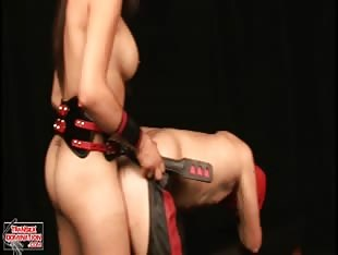Mistress Jezebel fucks blindfolded slave
