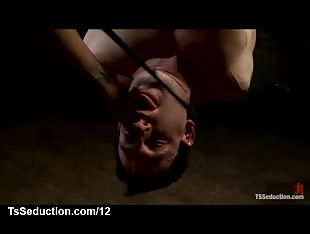 Bound guy upside down watches tranny jerking dick