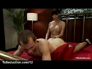 Curved tranny toy and fuck guy in mouth