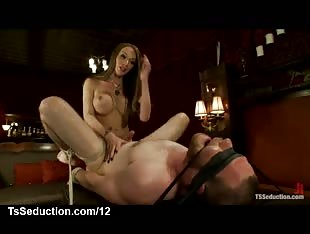 Huge cock tranny fucks bound guy and takes blowjob from him