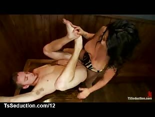 Busty tranny fucks hairless guy in bar