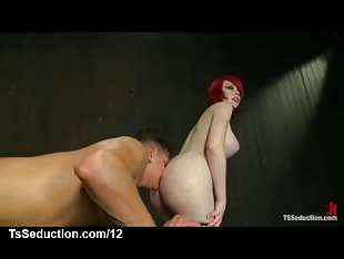 Busty tranny fucks skull and ass of guy in dungeon
