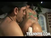 Kinky tranny with big tits brutally ass fisted and pounded