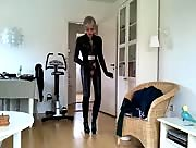 Sissy sexy leather catsuit