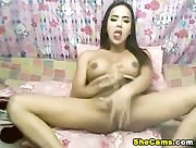 Shemale Playing her Cock on Cam
