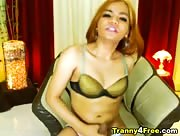 Tranny Plays fills her Cock with Cum