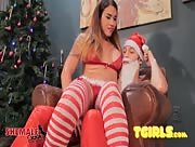 Naughty Tori Mayes Takes Santa's Punishment!