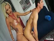 Blonde shemale Renata Davila loves Maurizio's dick