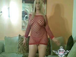 Monica Richard in a Red Dress